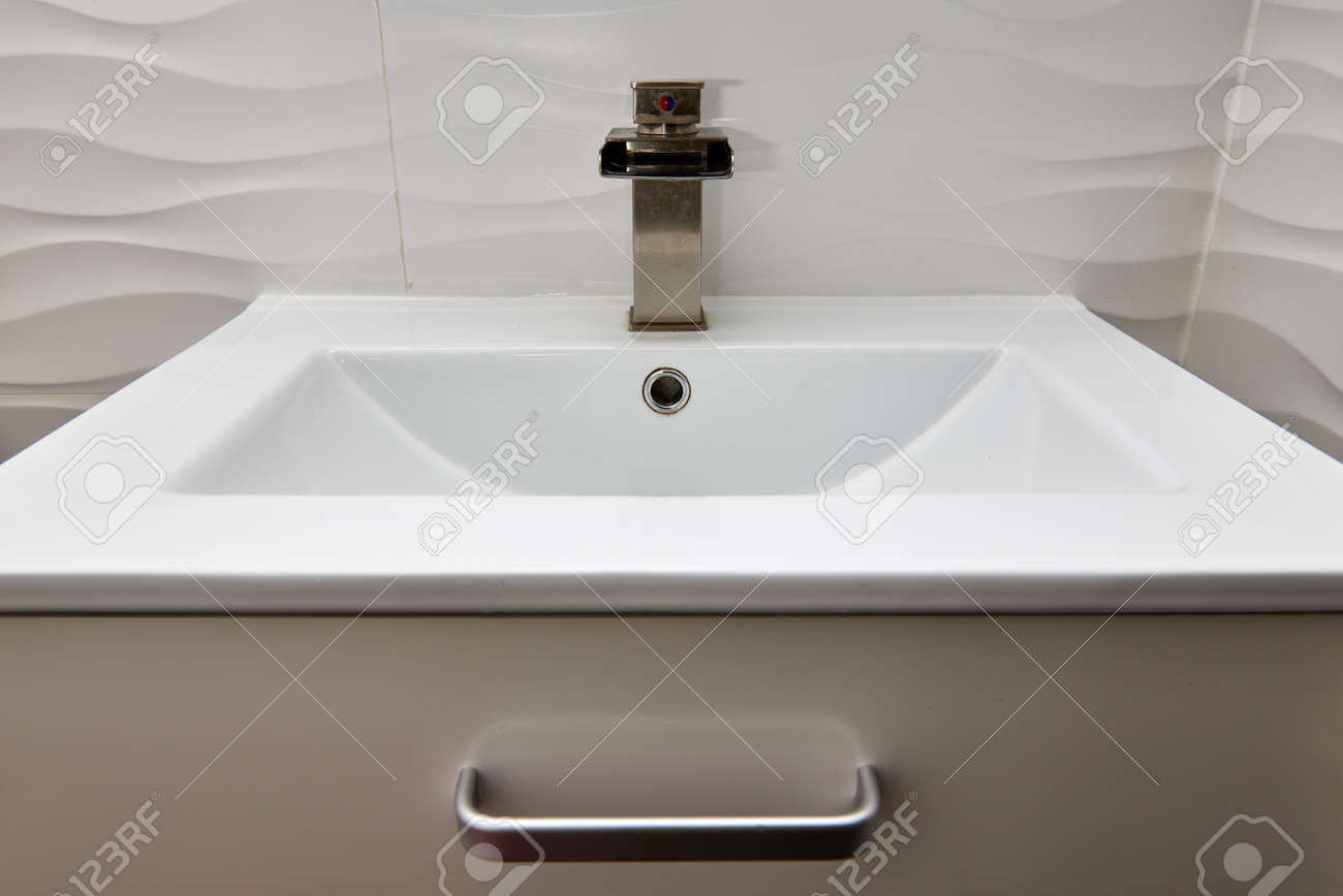 White Modern Design Bathroom Vanity With White Marble Sink And ...