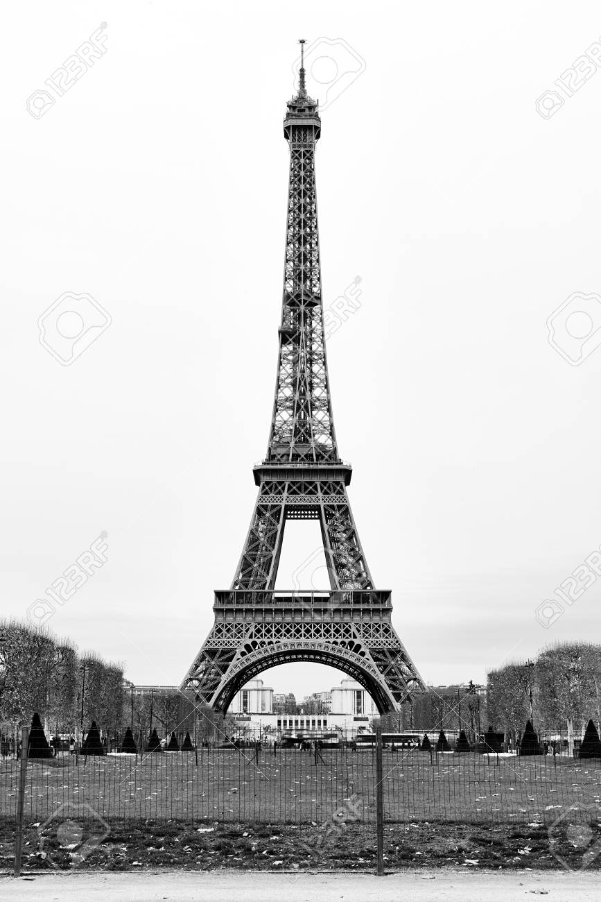 The Eiffel Tower In Paris France Black And White Stock Photo Picture And Royalty Free Image Image 94993599