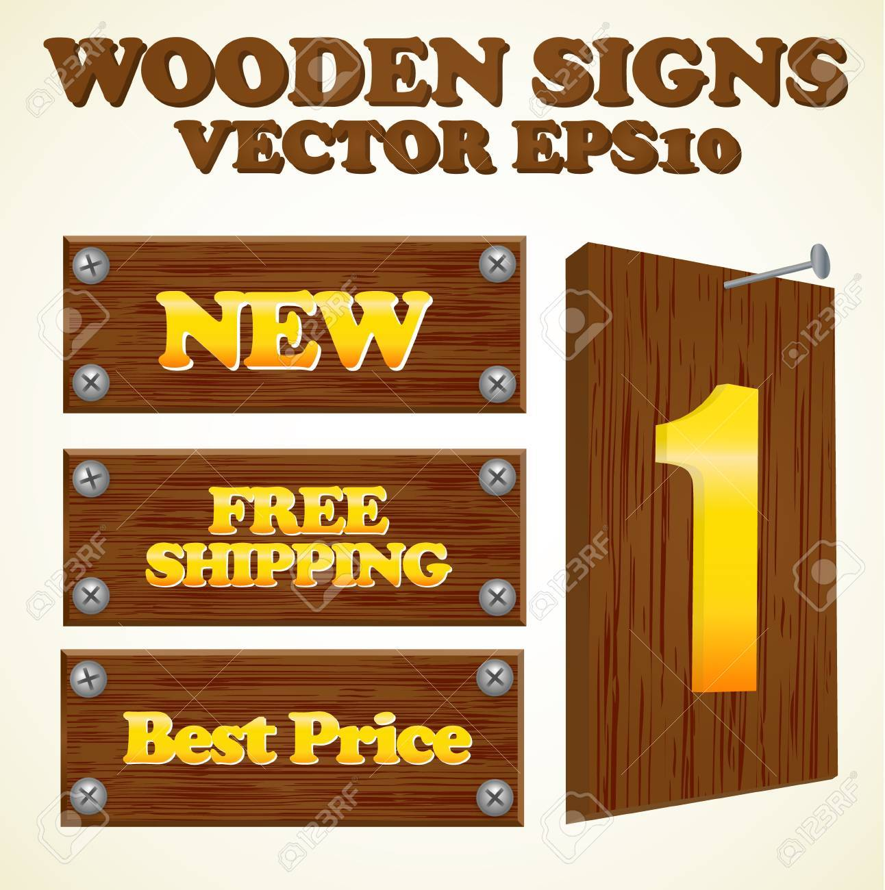 Wooden signs with gold text Stock Vector - 9930456