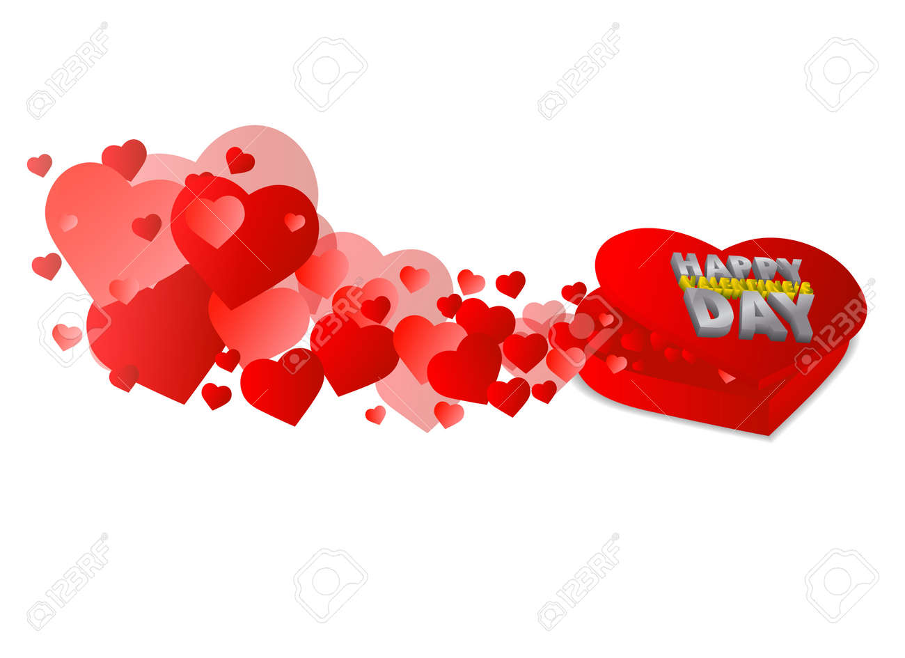 Heart shape box with Happy Valentine's day text Stock Vector - 11703638
