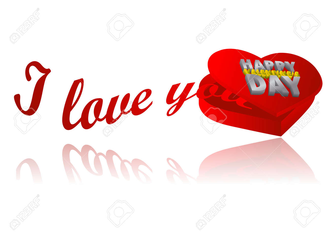 Heart shape box with I love you text Stock Vector - 11703598