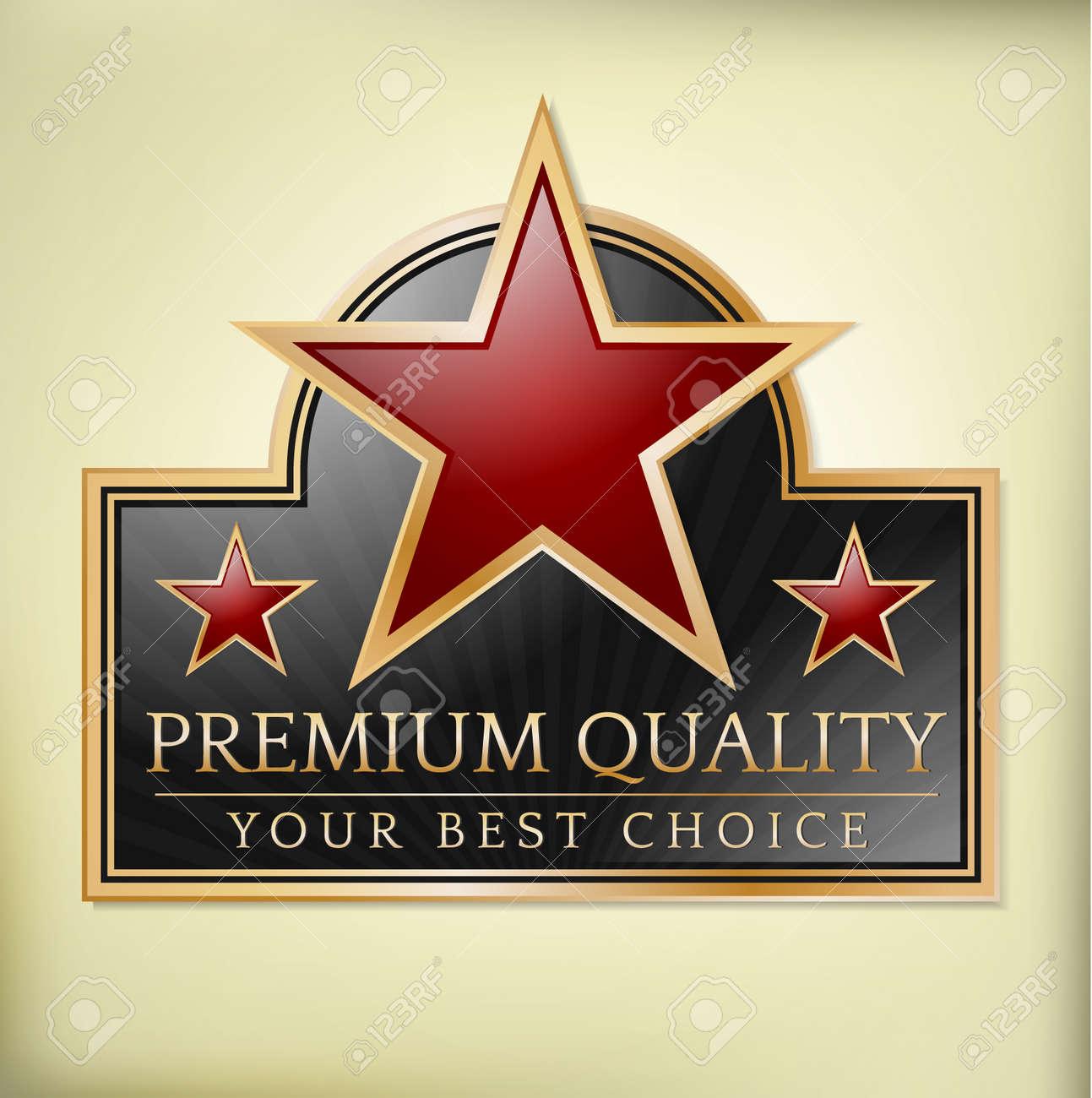 Premium quality shiny label with stars Stock Vector - 13098764