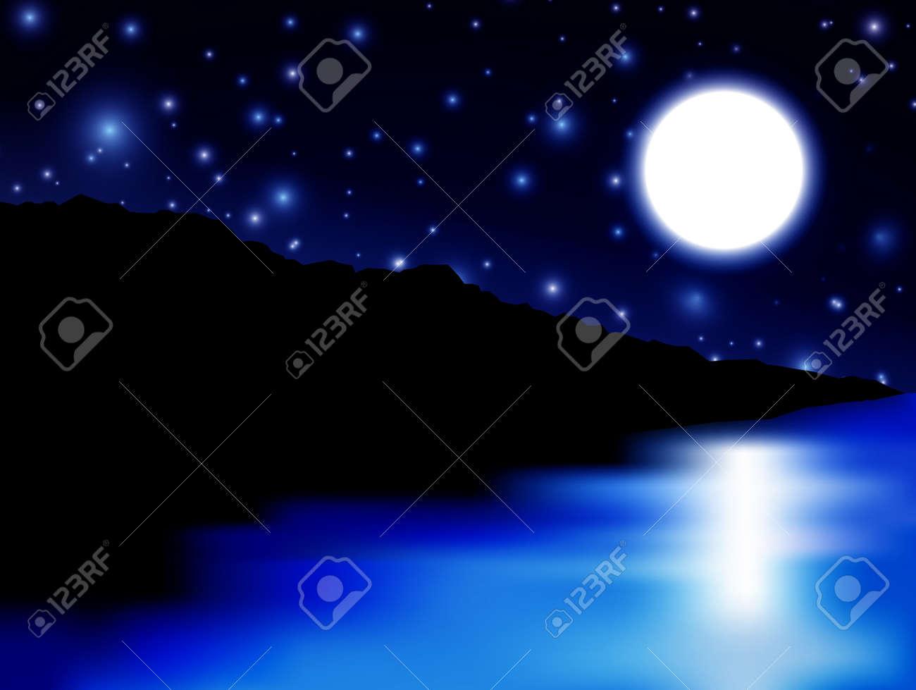 Beautiful Moon Over Sea And Island Stock Vector