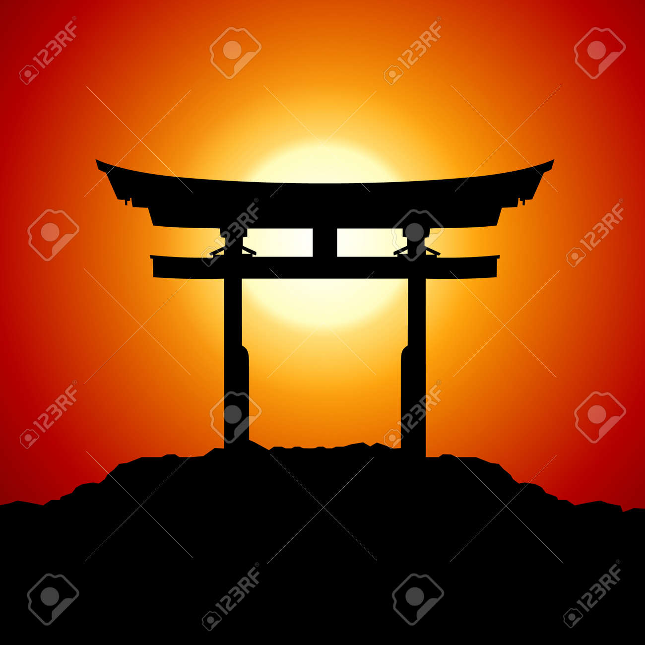 Japanese Temple Silhouette