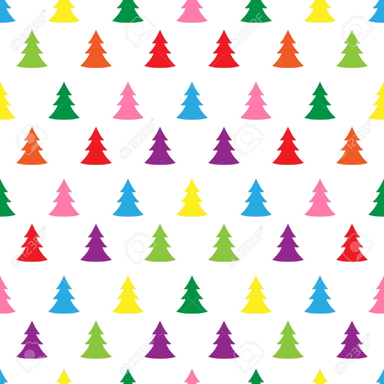 Christmas Tree Pattern.Seamless Simple Cute Christmas Tree Illustration Pattern