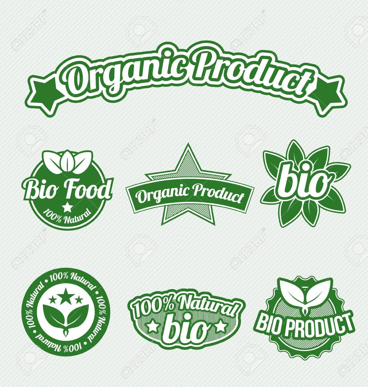 Green Organic Product Tags set Stock Vector - 17177195