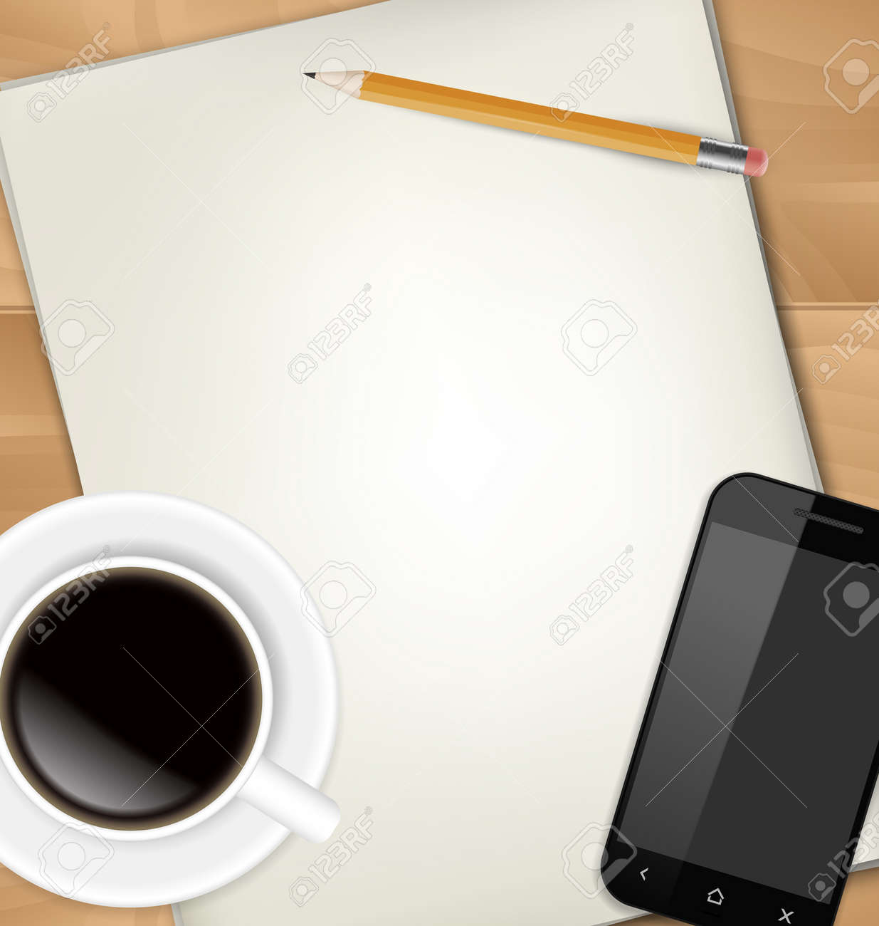 Sheets of paper, pencil, cup of coffee and smartphone on table Stock Photo - 19071174