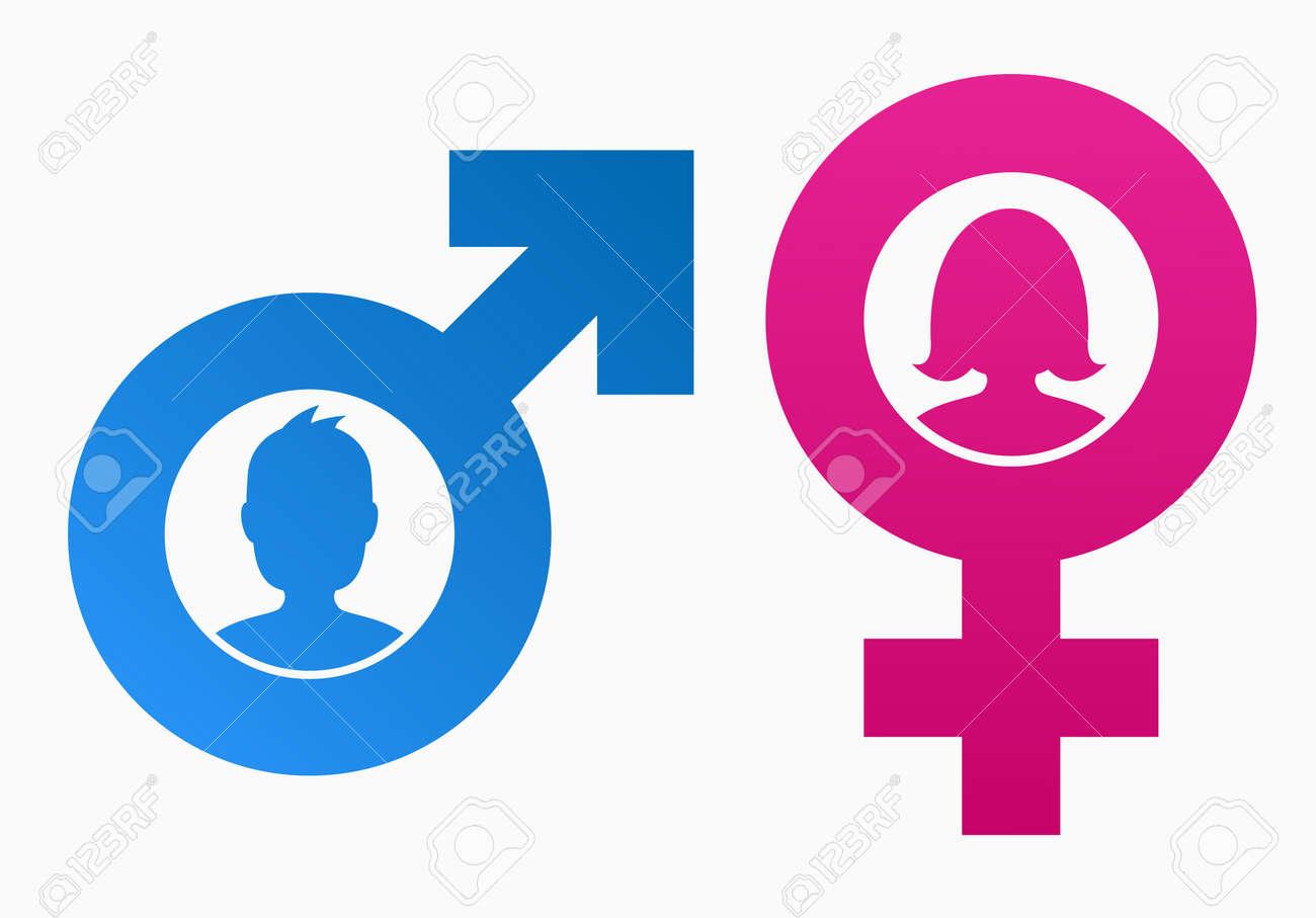 Símbolos Del Género Con Cabeza De Hombre Y Mujer Ilustraciones