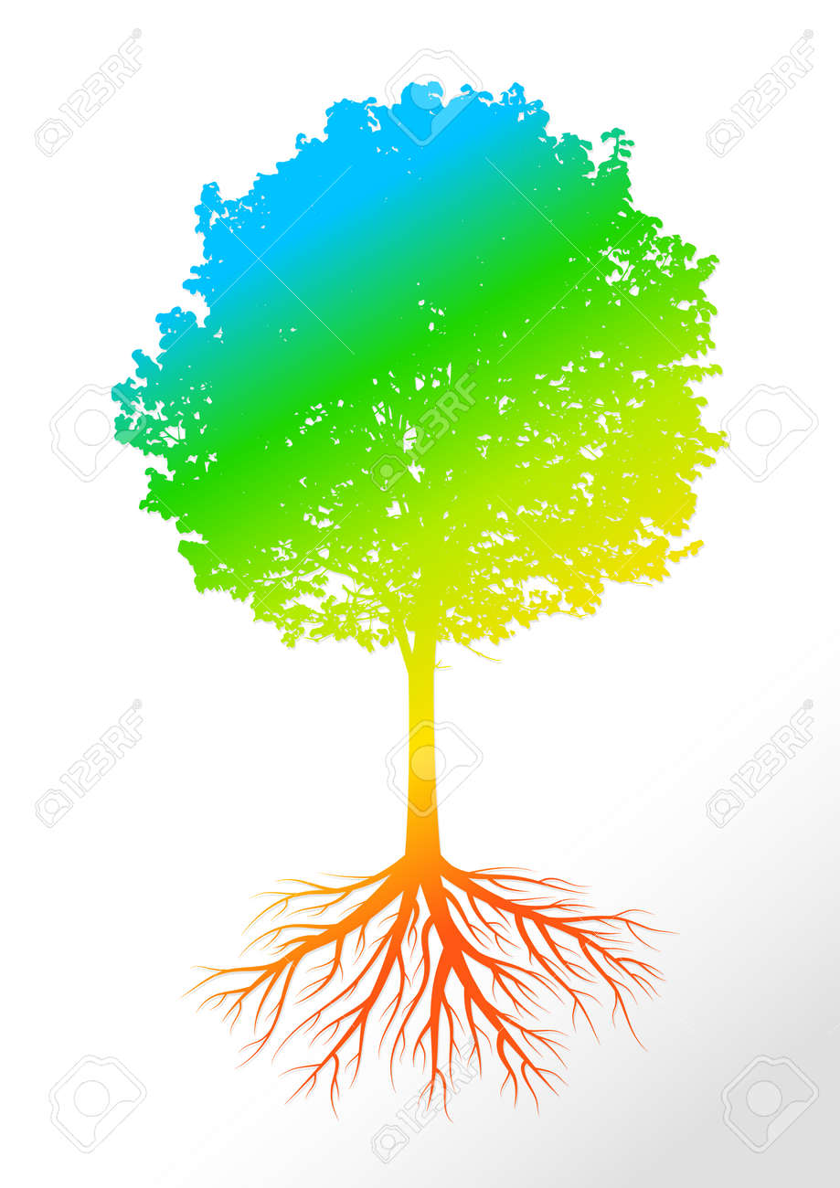 Colorful Tree Silhouette With Leaves And Roots On Light Background ...