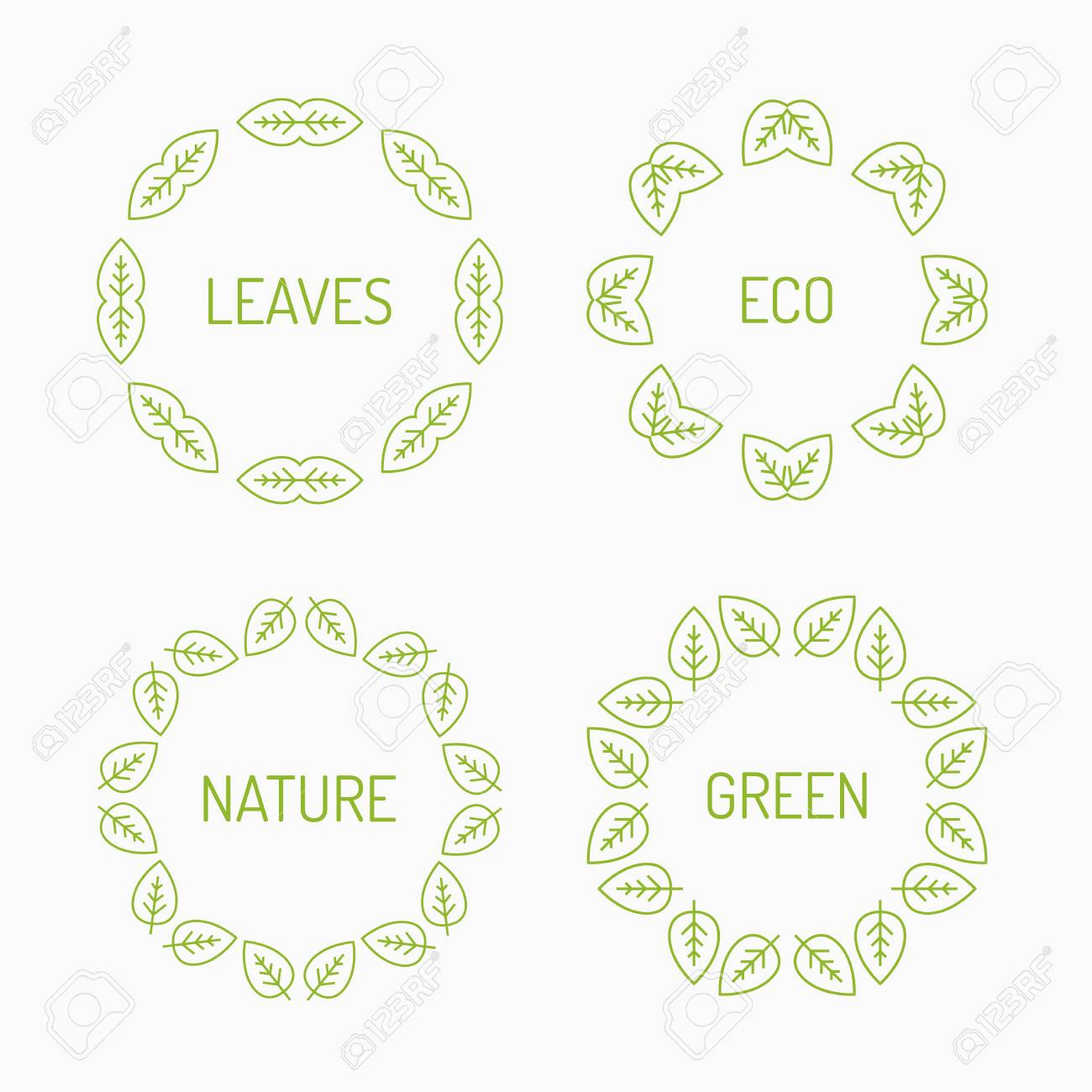 Green Leaves, Eco Frames Graphic Royalty Free Cliparts, Vectors, And ...