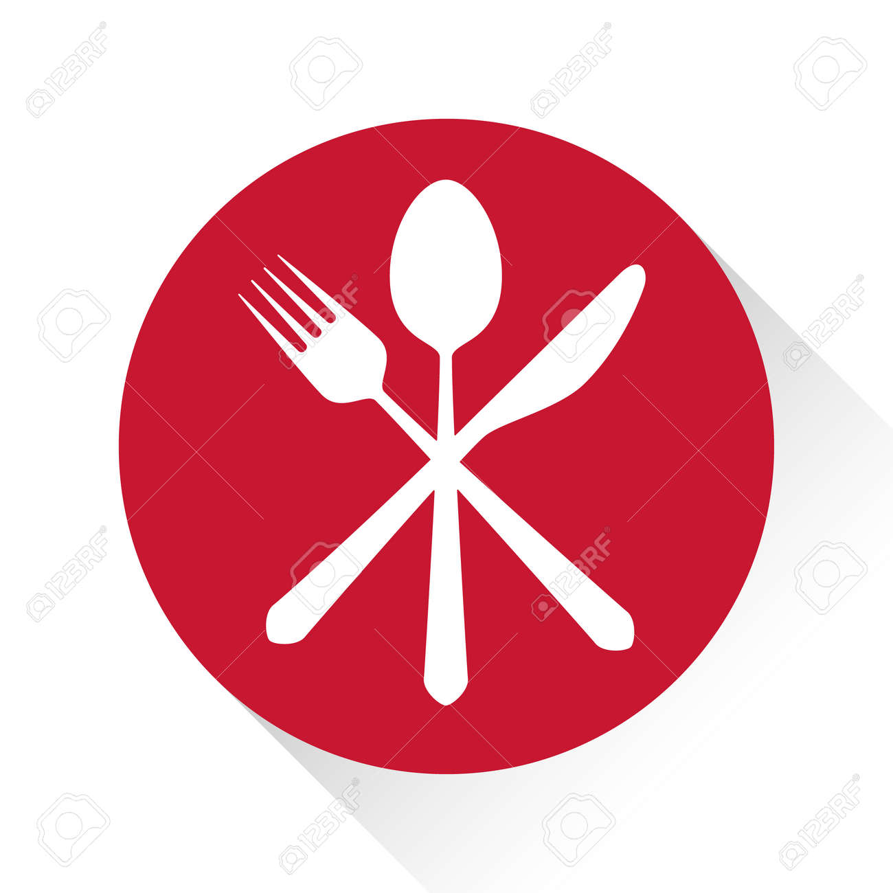 Gastronomy Restaurant Symbol Fork Knife And Spoon Logo Template