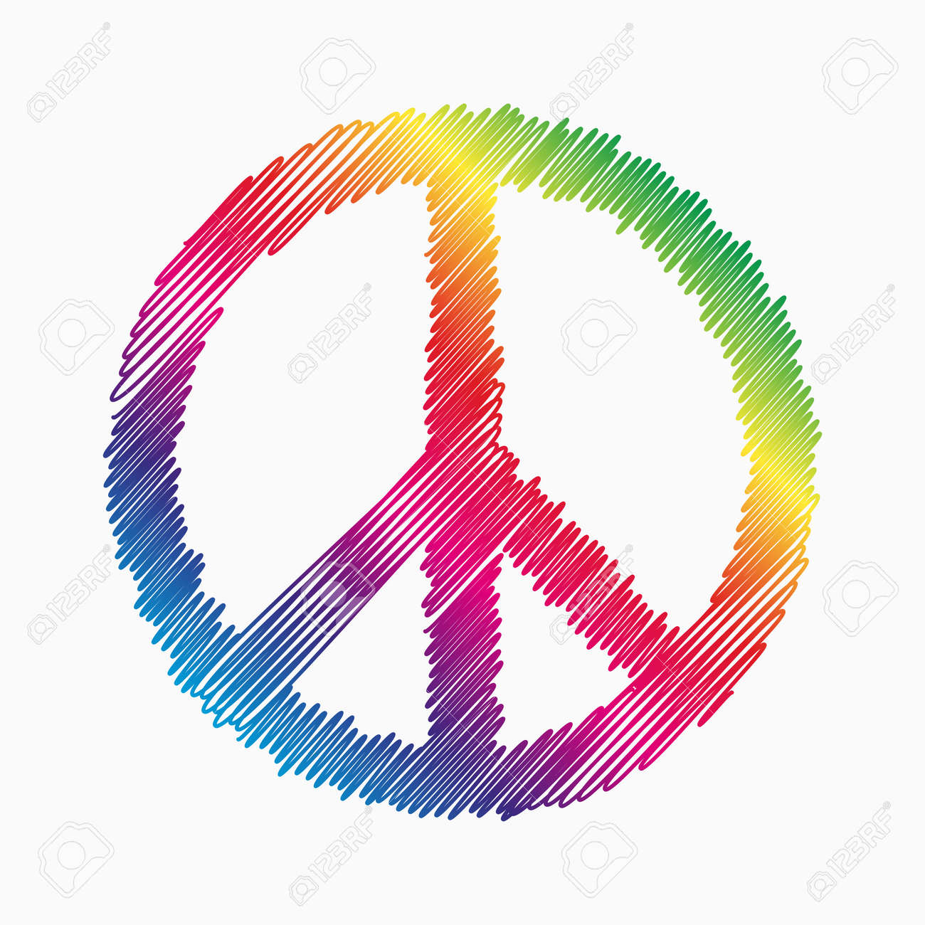 Doodle Peace symbol with rainbow fill - 46527502