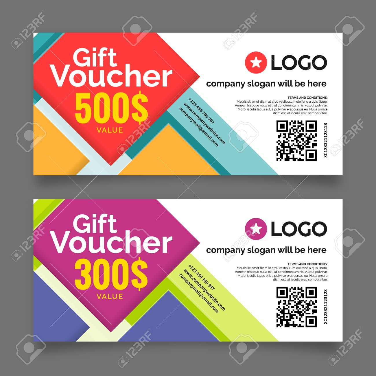 Gift Voucher Template Premium Certificate Coupon Vector Graphic