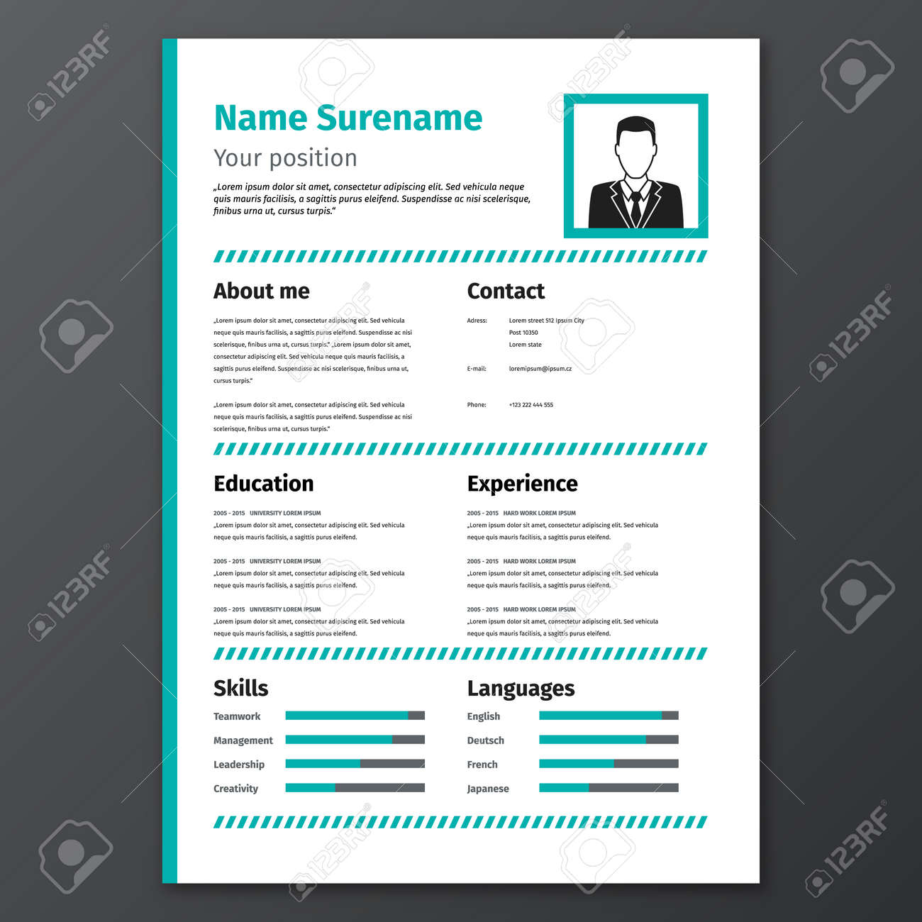 Graphic Resume Template Vector Cv Stock