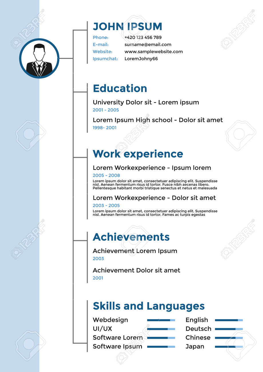 Cv resume template vector graphic design layout royalty free cv resume template vector graphic design layout stock vector 52292316 yelopaper Images