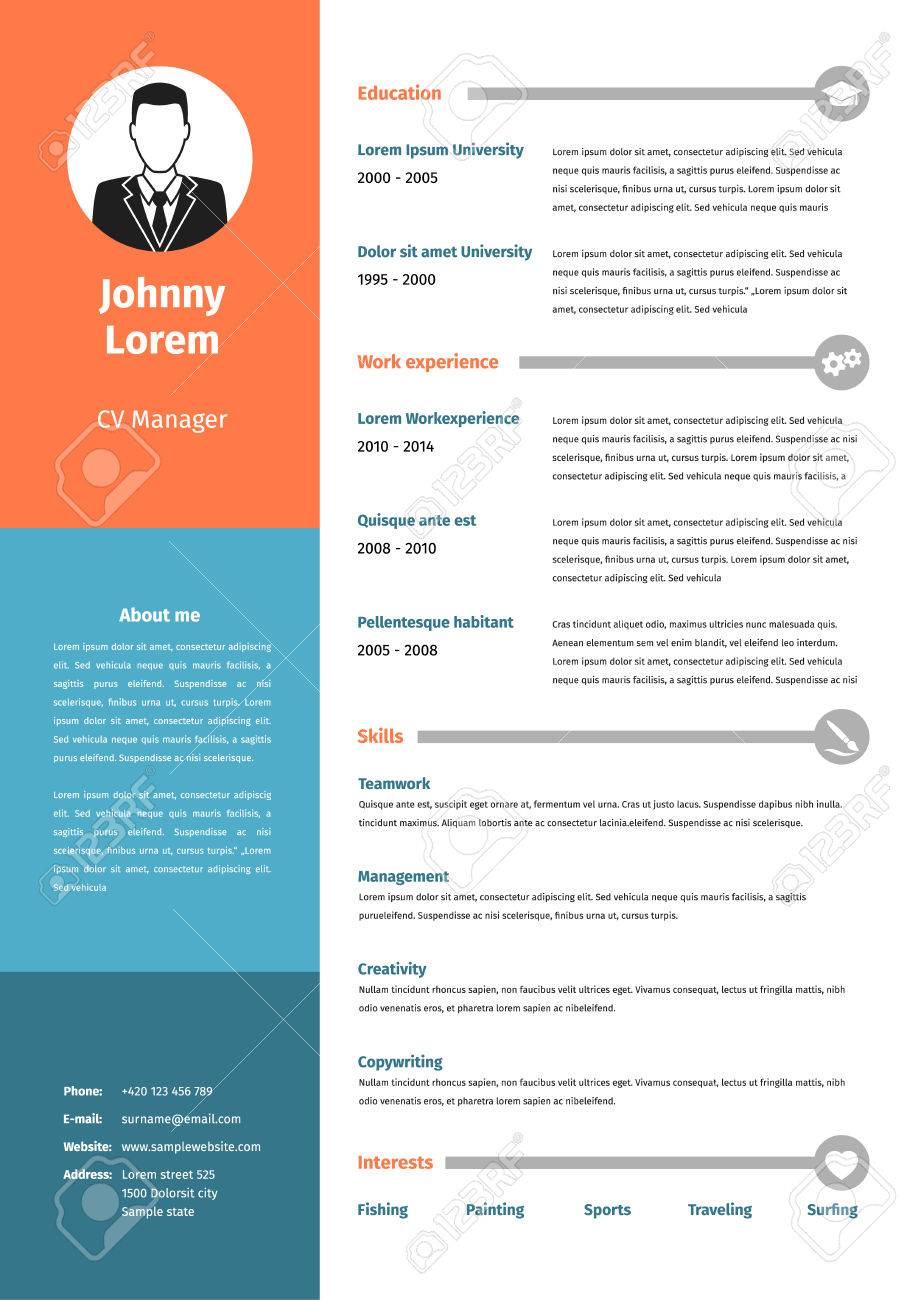 Cv Resume Template Vector Graphic Design Layout Royalty Free