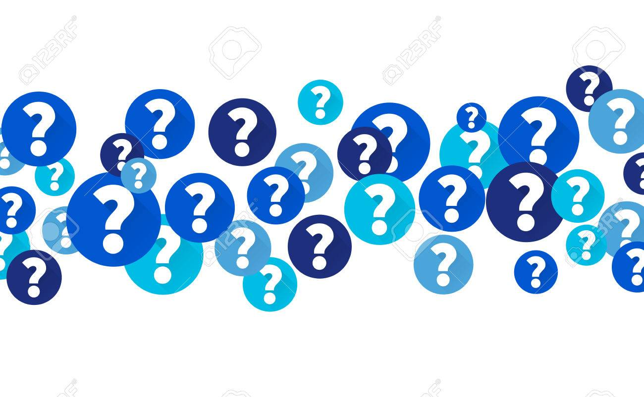 Question marks in blue circles, Flow of icons on white background - 61610802