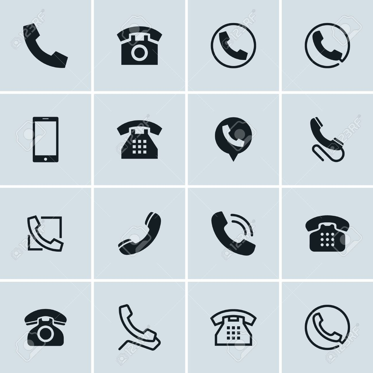 Phone Icons Set Of 16 Telephone Symbols Ideal For Website Design