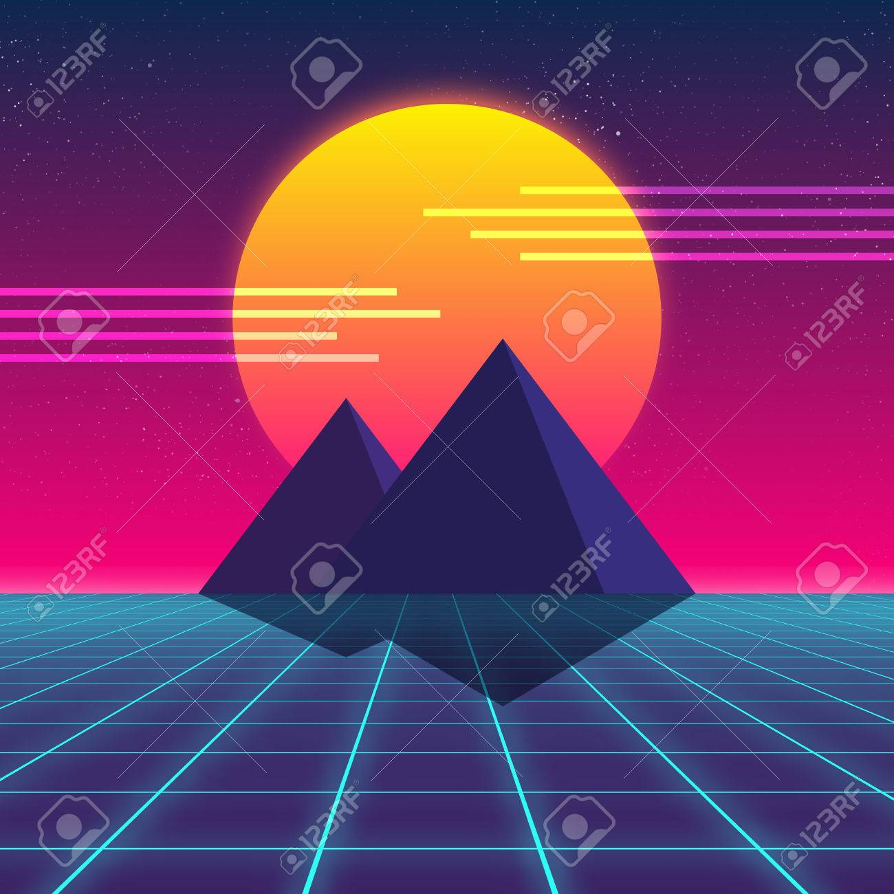 Synthwave retro design, Pyramids and sun, vector illustration Stock Illustration - 79799945