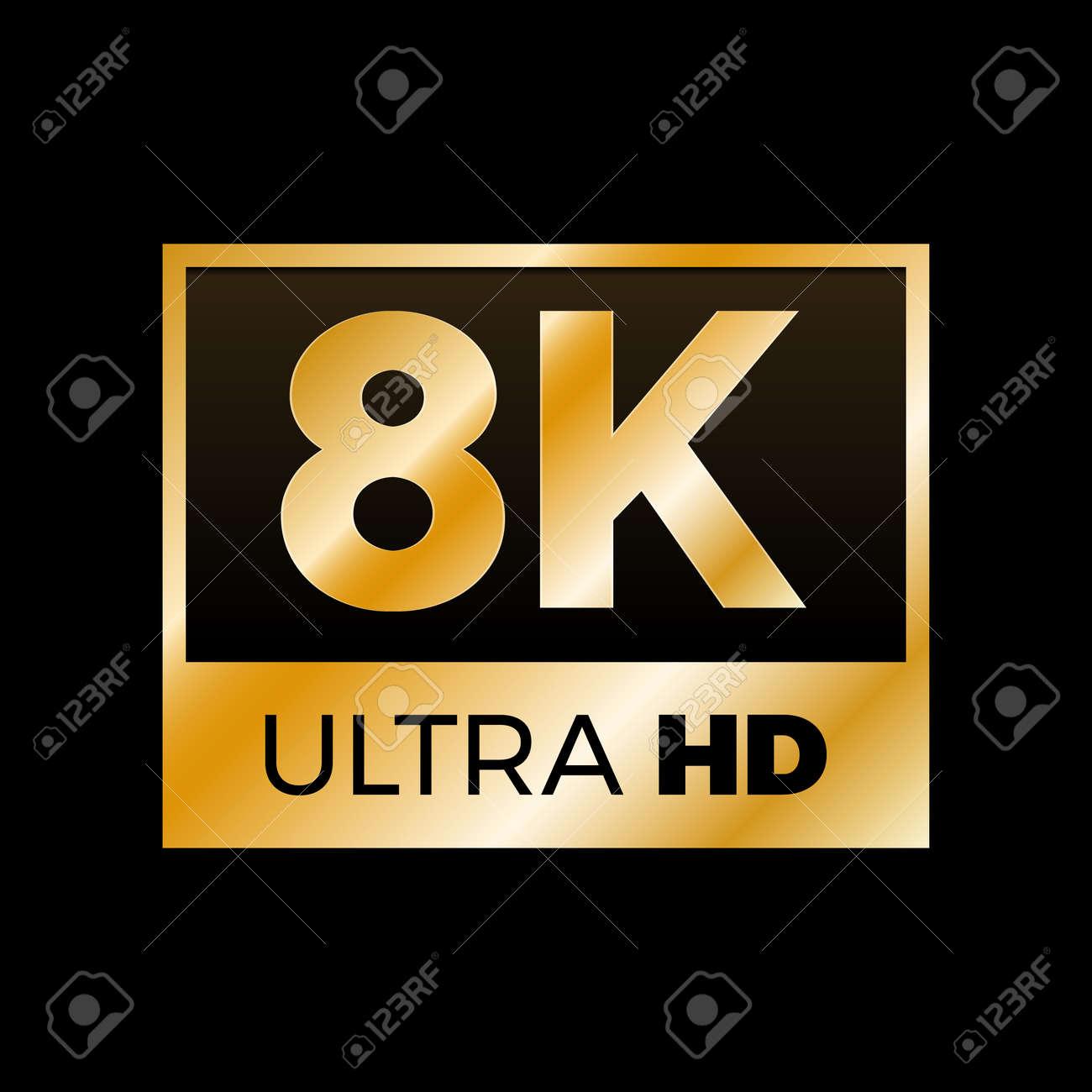 8k ultra hd symbol, high definition 8k resolution mark, royalty free