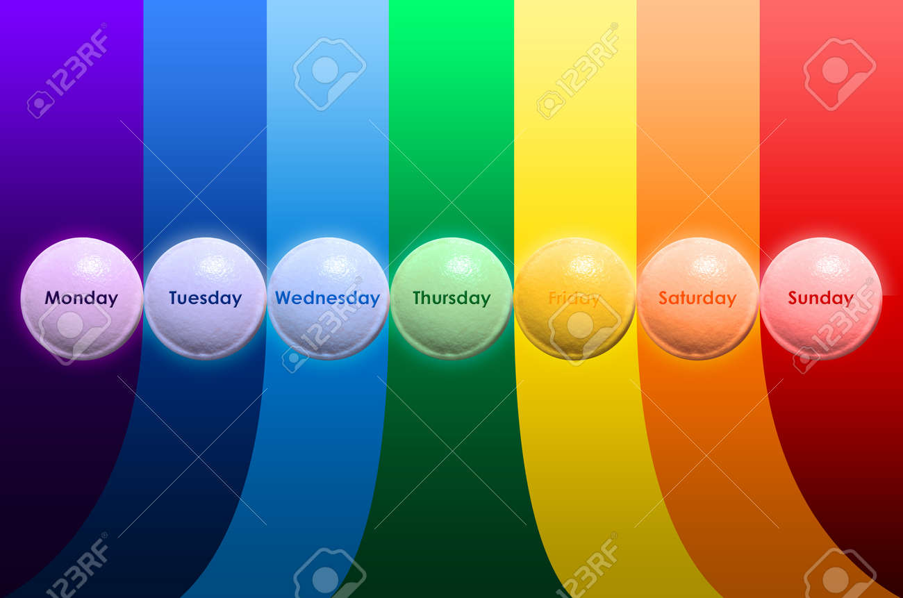 pill for seven days and seven colors Stock Photo - 20687768