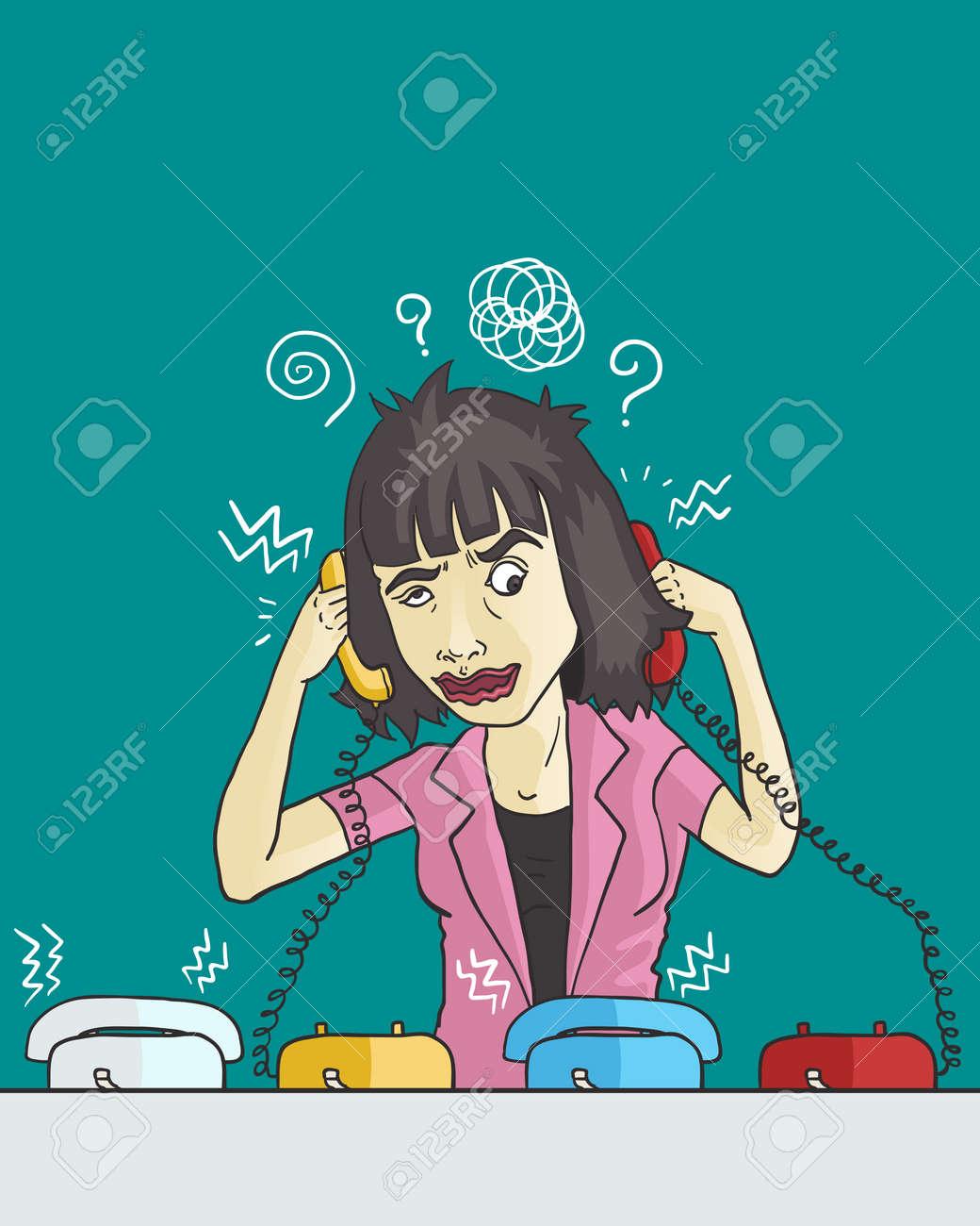 当惑の女性社員が電話に出るのイラスト素材・ベクタ - Image 73357507.