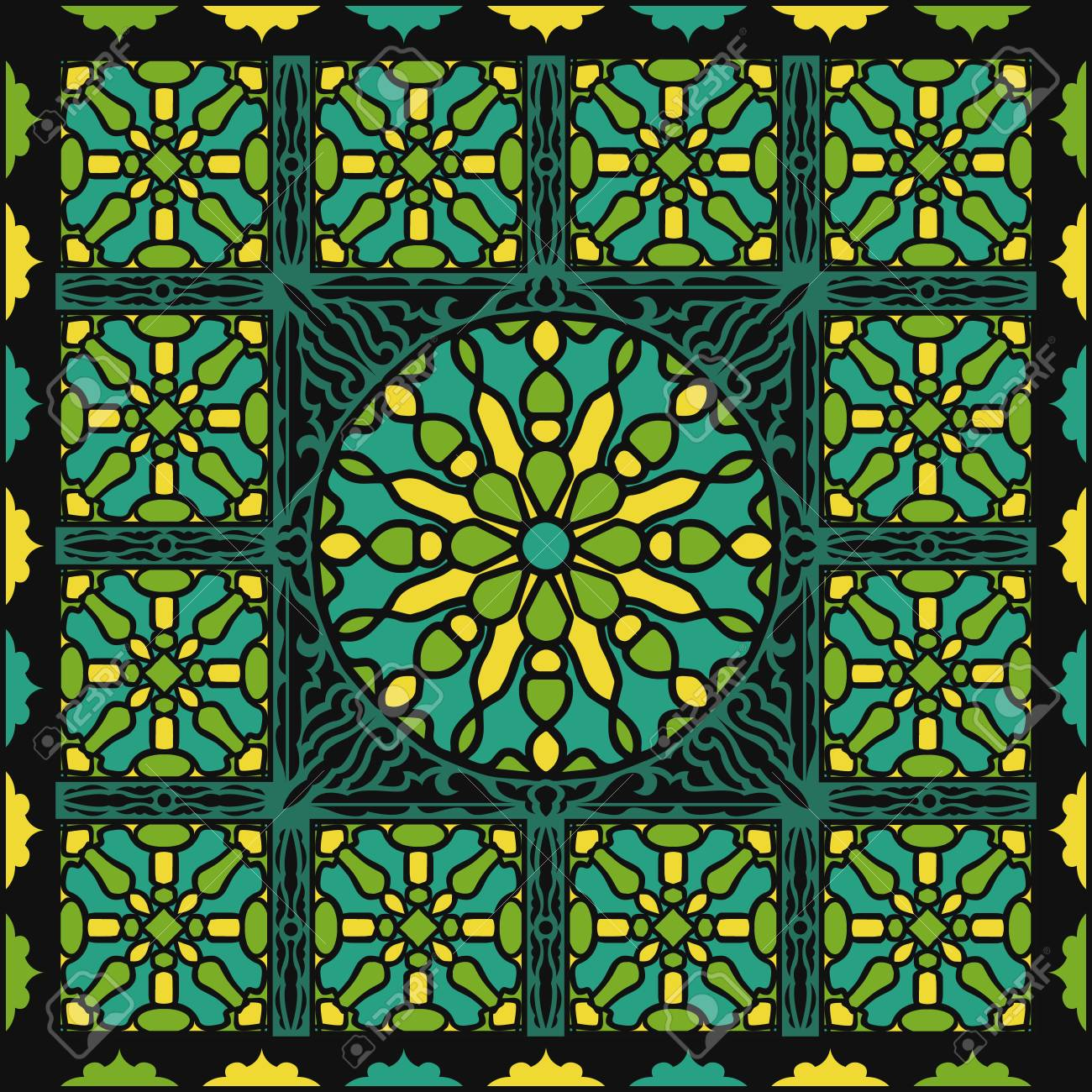 Image of: Abstract Black And Green Contemporary Antique Stained Glass Pattern Royalty Free Cliparts Vectors And Stock Illustration Image 101187156