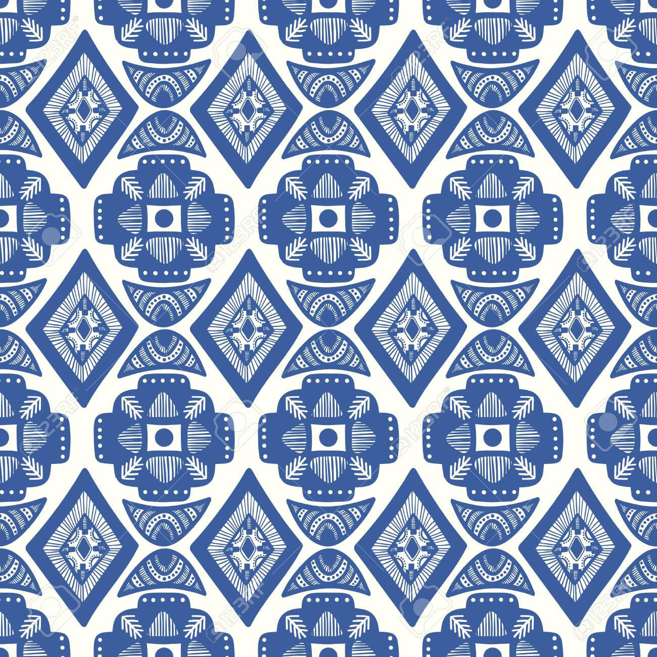 vector blue ethnic square rhombus and crescent moon seamless pattern on white - 142027149