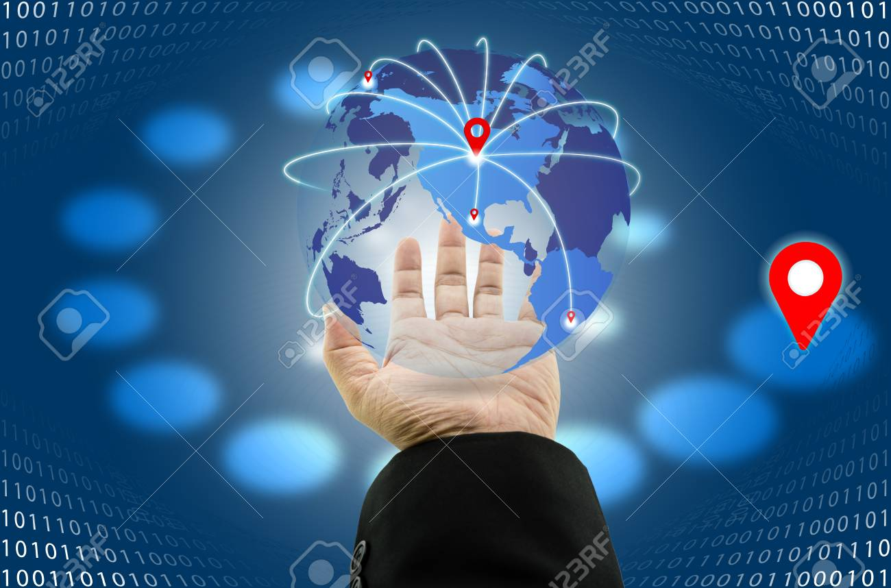 Businessman with digital world map and map pointer at globe with businessman with digital world map and map pointer at globe with location pin network floating over publicscrutiny Images