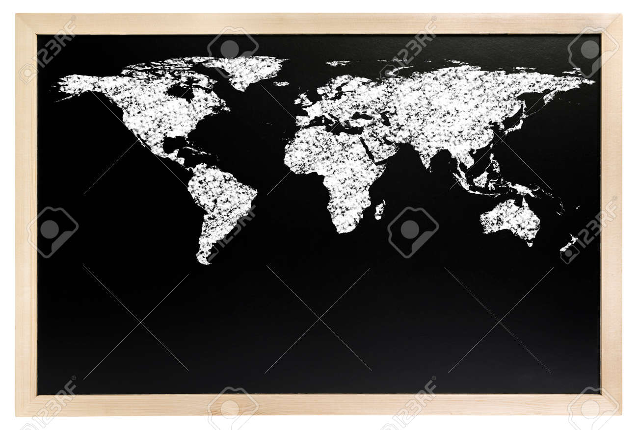Draw a world map with white chalk on blackboard isolated on white draw a world map with white chalk on blackboard isolated on white background stock photo gumiabroncs Choice Image