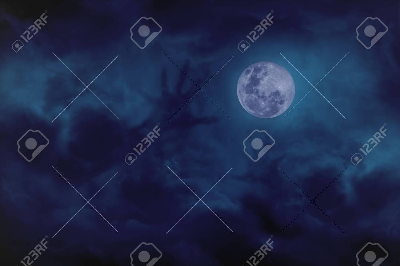 Blue full moon with cloud demon on blue darkness sky, concept of horror - 127913302