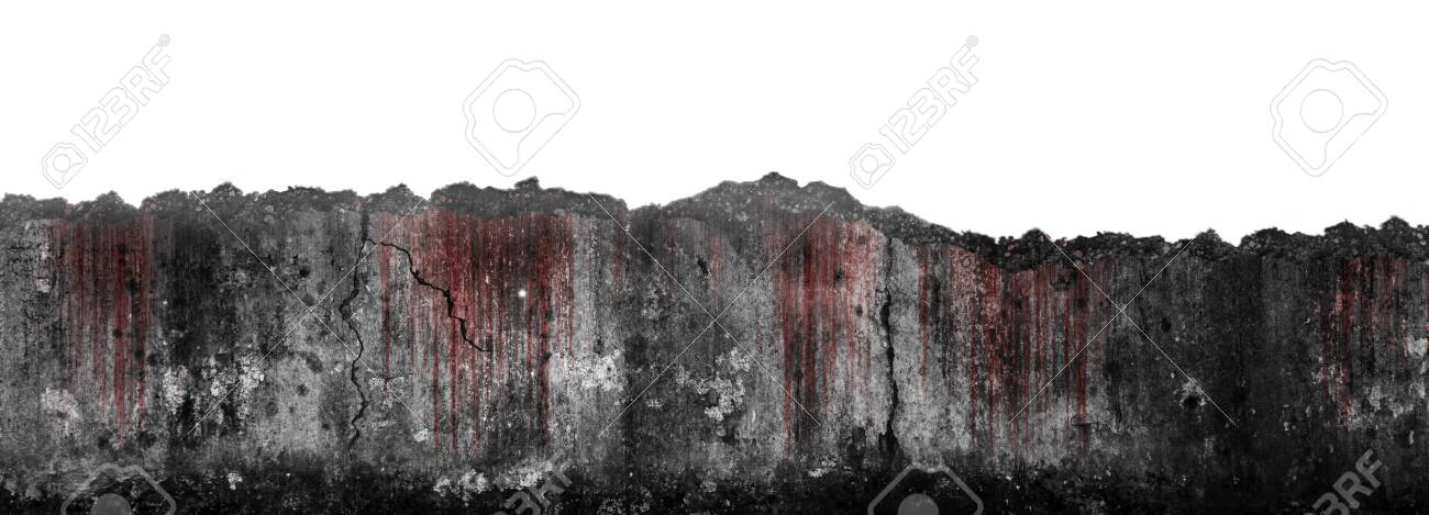 Bloody scary on damaged grungy crack and broken concrete wall isolated on white background, concept of horror and Halloween - 135534256