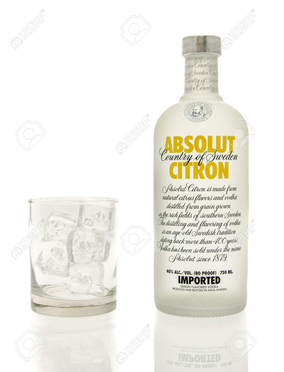 Winneconne, WI - 15 March 2016: A bottle of Absolut citron vodka