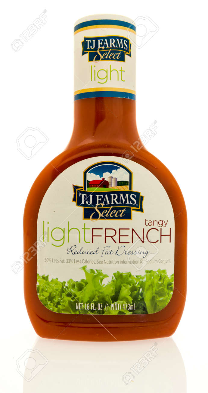Stock Photo   Winneconne, WI   15 May 2017: A Bottle TJ Farms Light French Salad  Dressing On An Isolated Background.