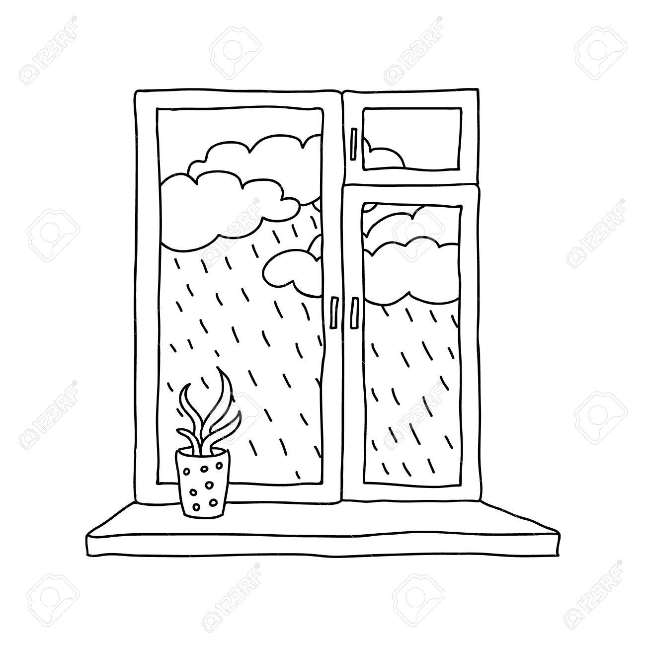 Rain Outside The Window Royalty Free Cliparts, Vectors, And Stock ... for Window Clipart Black And White  146hul