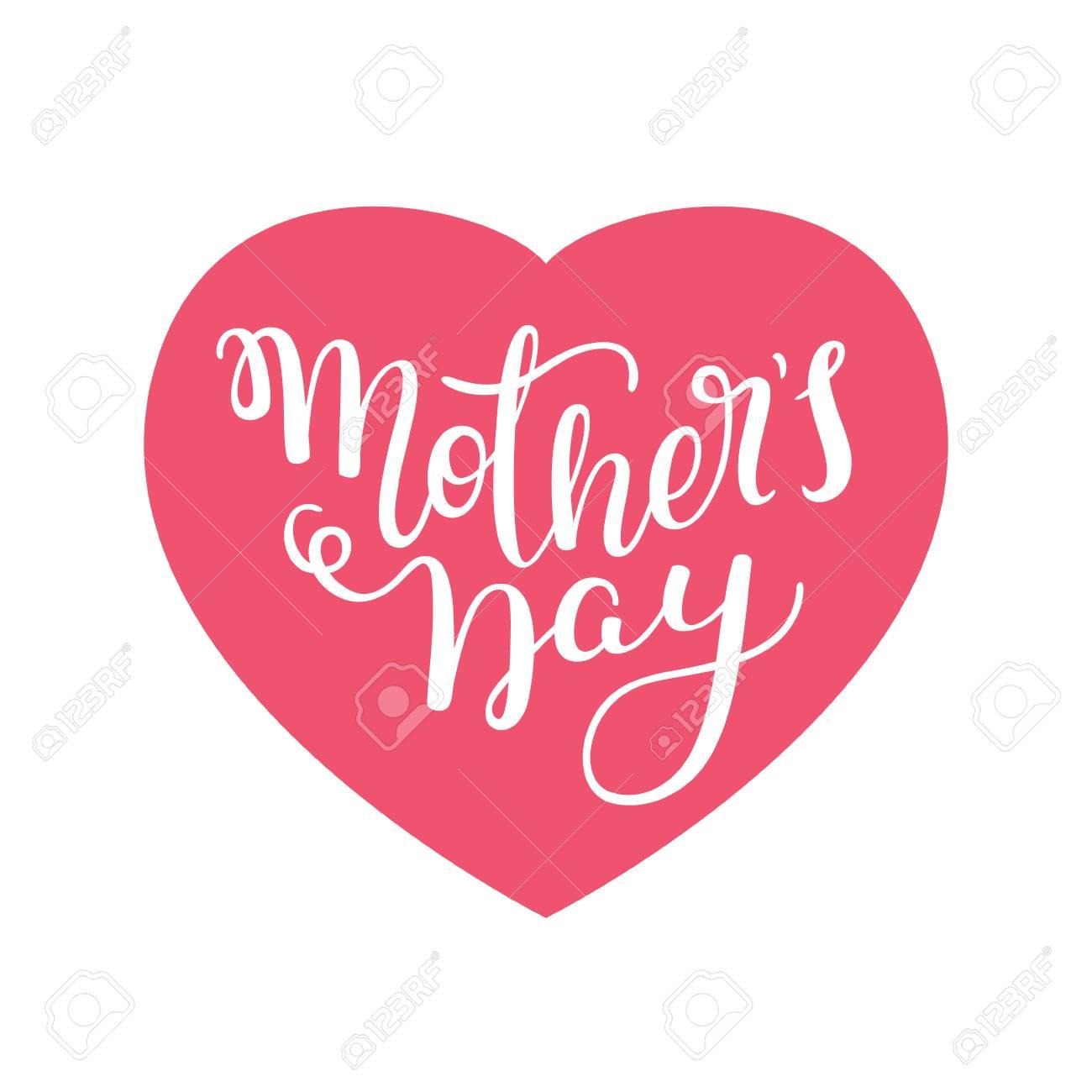 Letras De La Mano Del Día De La Madre Con Corazones Plantilla De Tarjeta De Felicitación Cartel