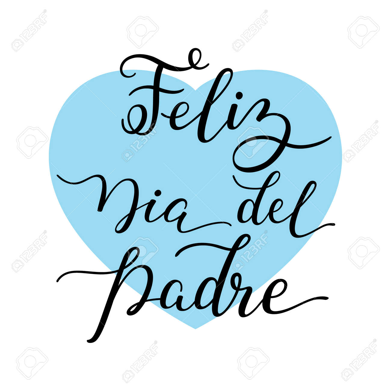 hand lettering happy father s day with heart in spanish feliz