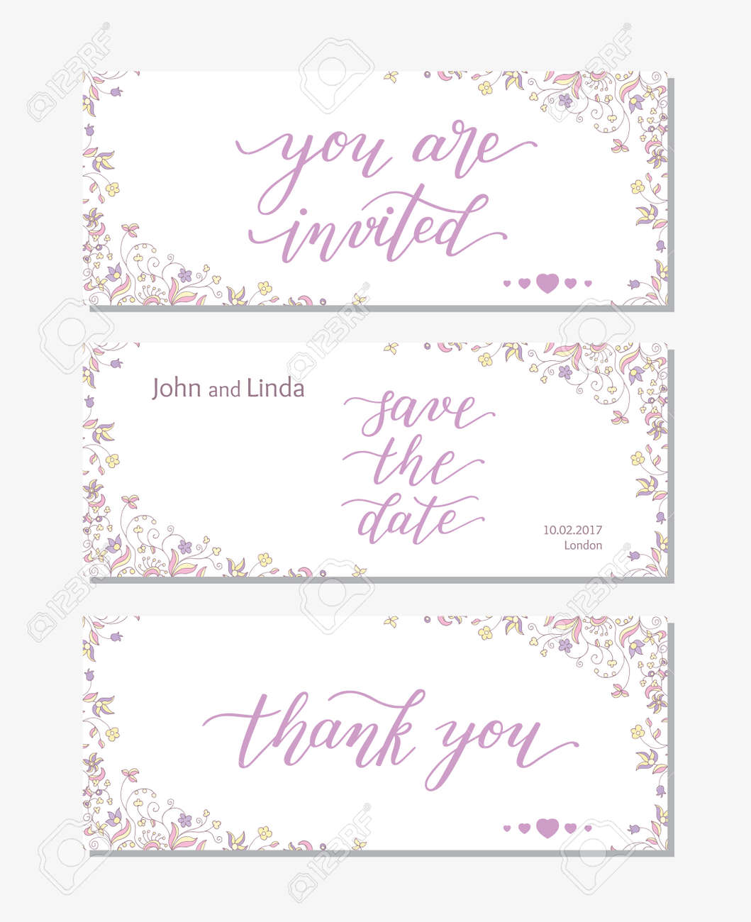 Wedding Set Template With Flowers And Hand Lettering. You Are ...