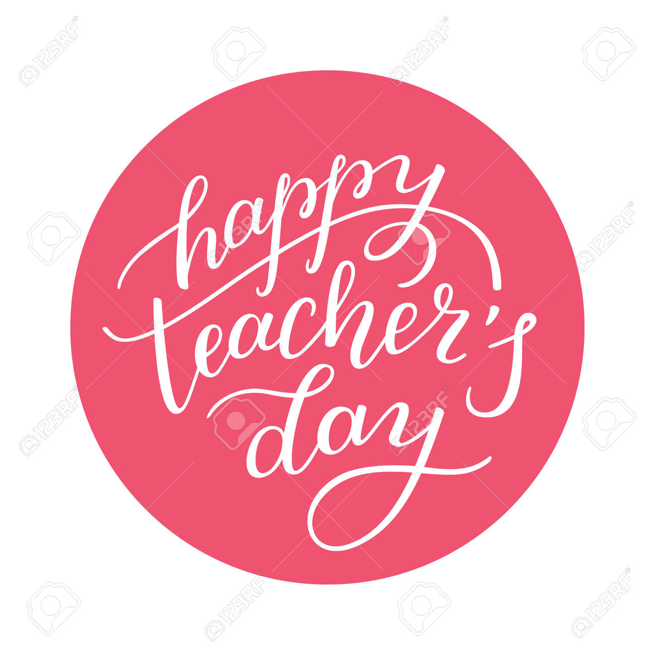 Happy Teachers Day Hand Lettering Template For Greeting Cards
