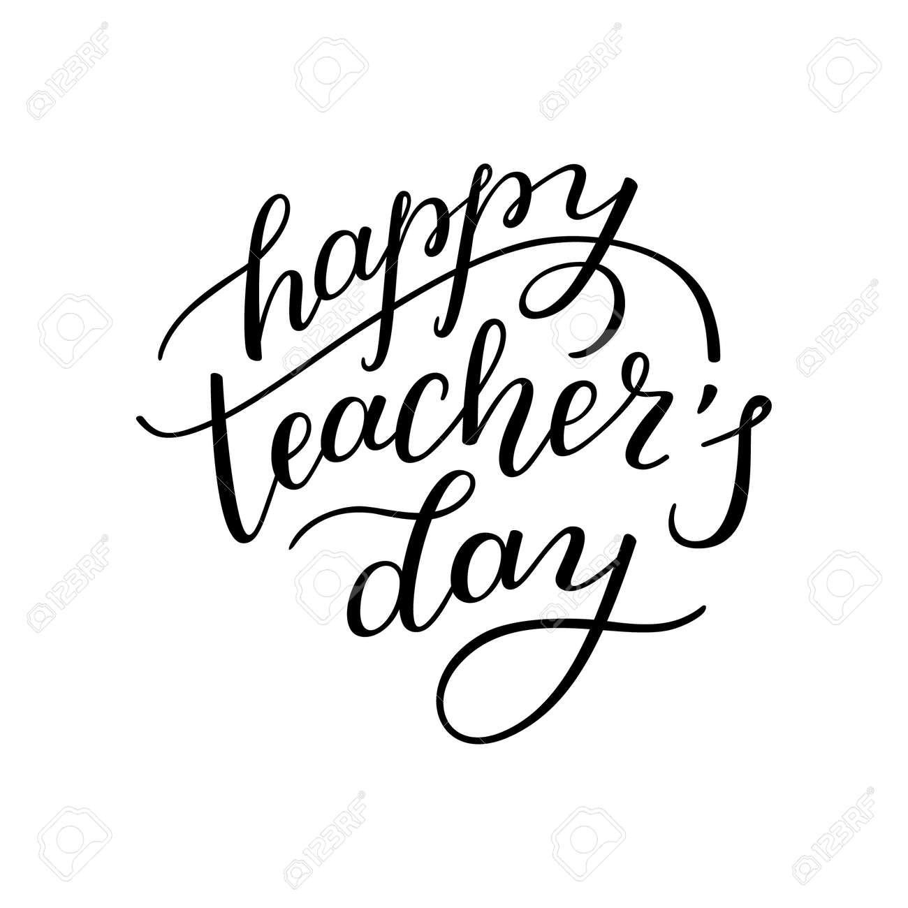Happy teachers day hand lettering isolated on white background happy teachers day hand lettering isolated on white background template for greeting cards kristyandbryce Image collections