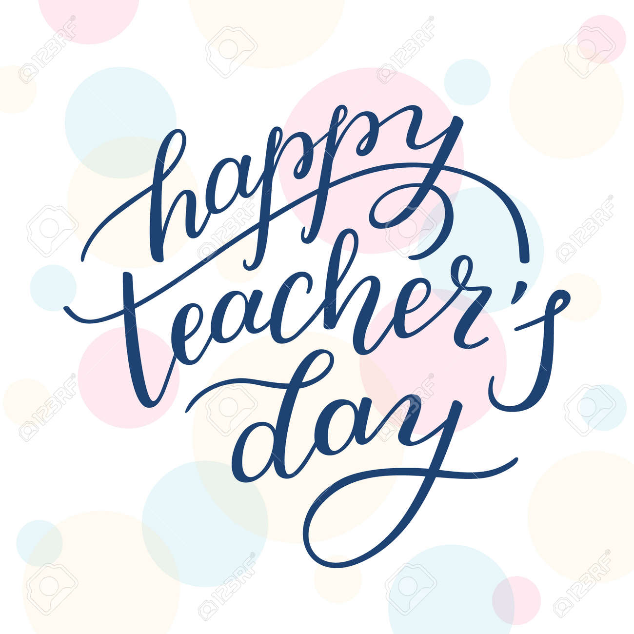 Happy teachers day hand lettering on colored background template happy teachers day hand lettering on colored background template for greeting cards m4hsunfo