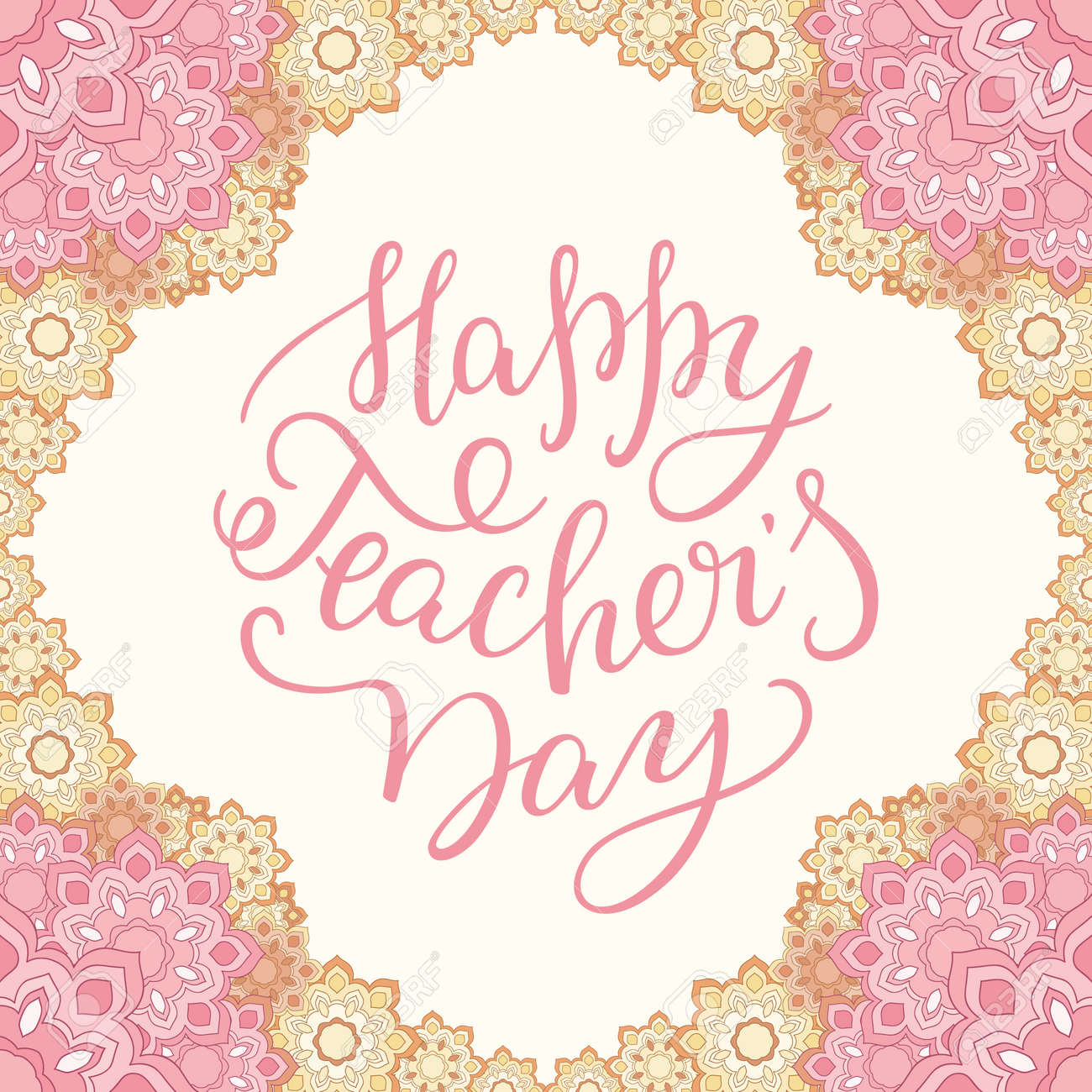 Happy teachers day hand lettering with flower frame template happy teachers day hand lettering with flower frame template for greeting card kristyandbryce Image collections