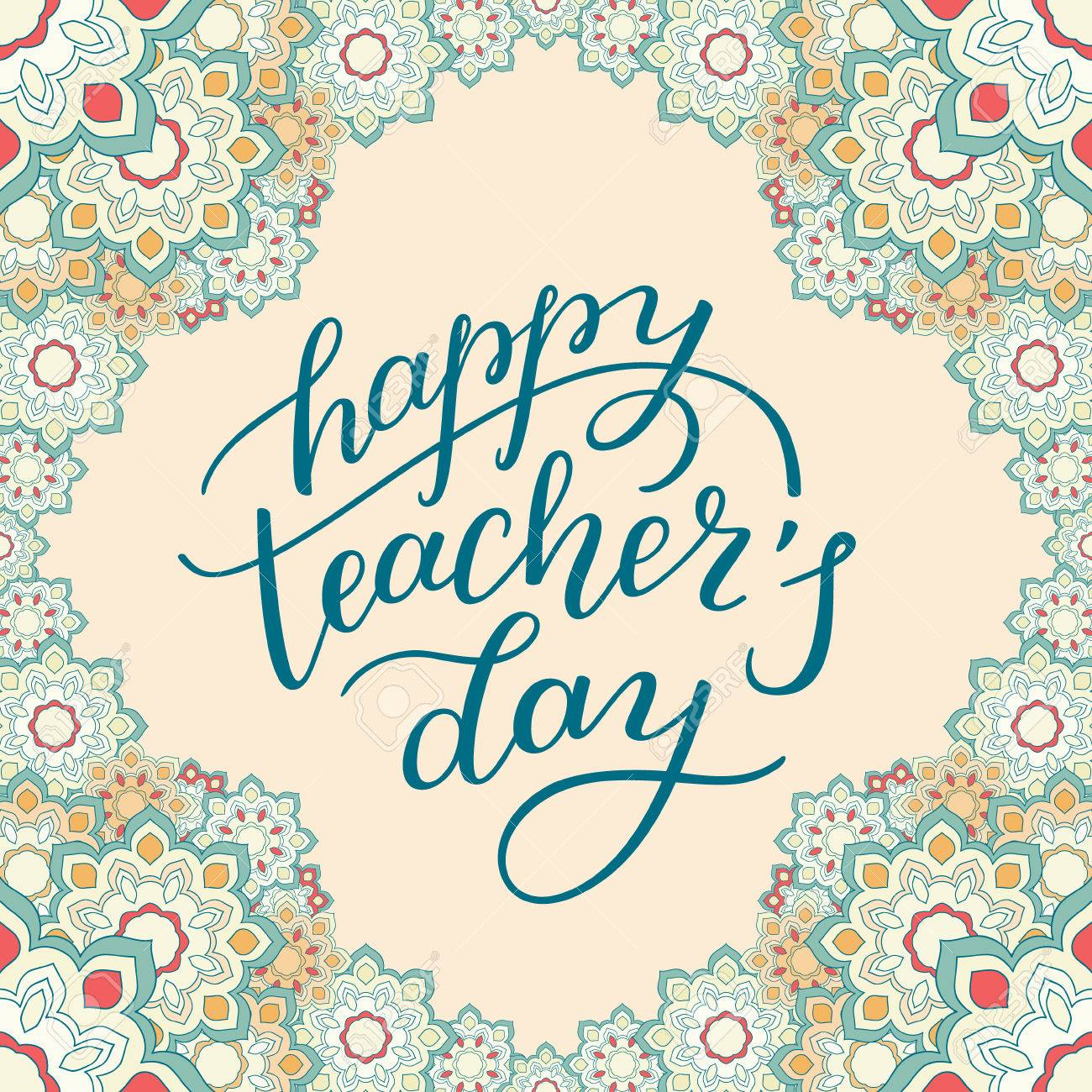 happy teachers day hand lettering with flower frame template