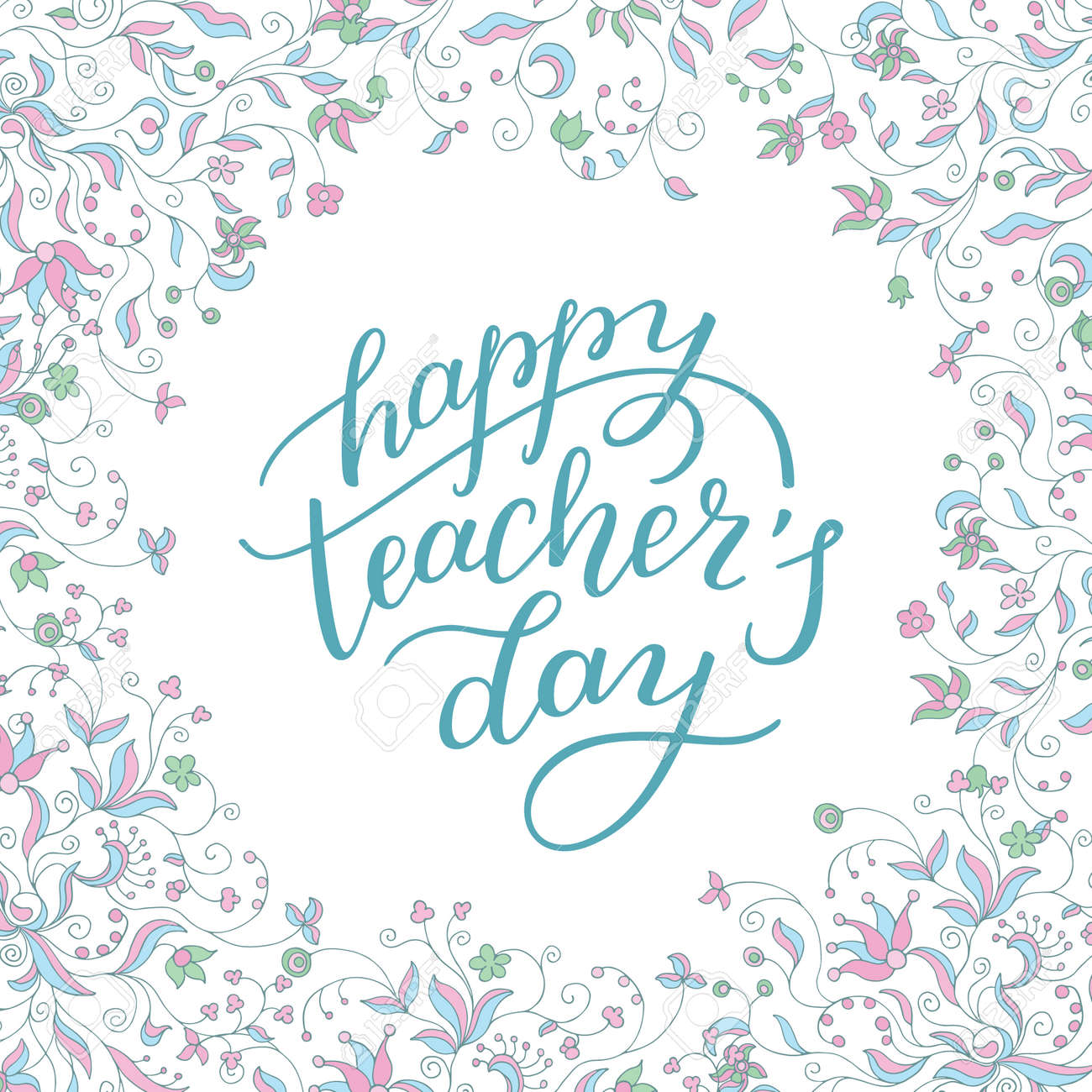 Happy teachers day hand lettering with flower frame template happy teachers day hand lettering with flower frame template for greeting card m4hsunfo
