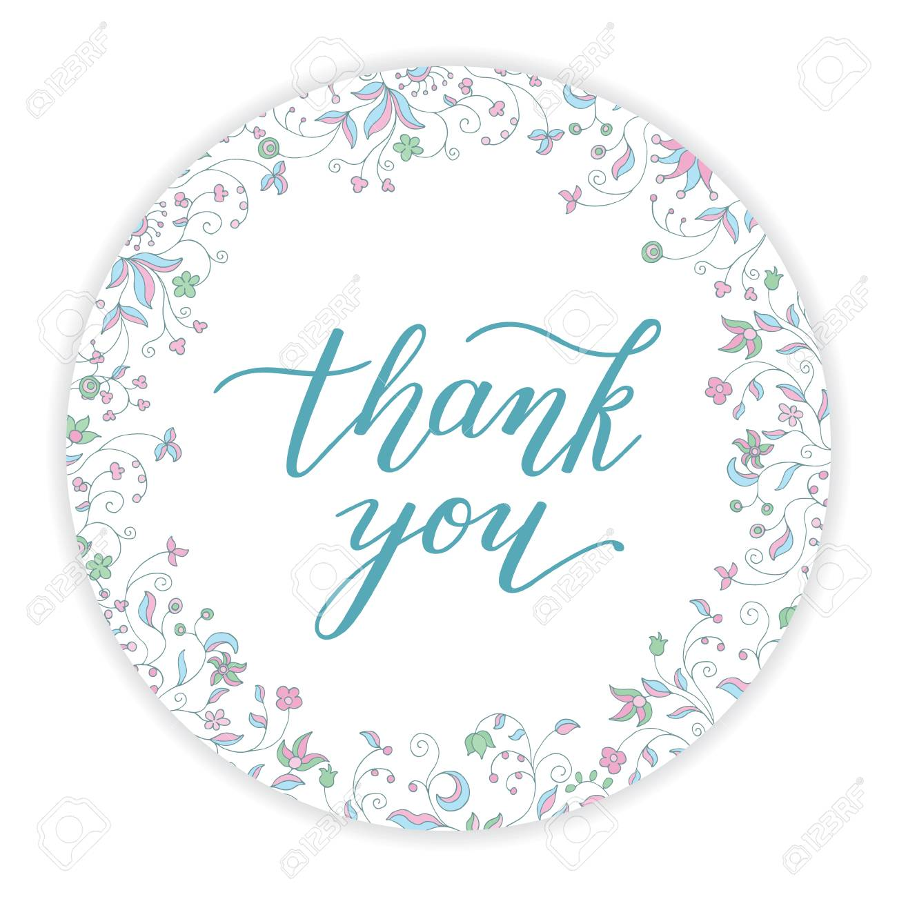 thank you hand lettering and round floral frame template for