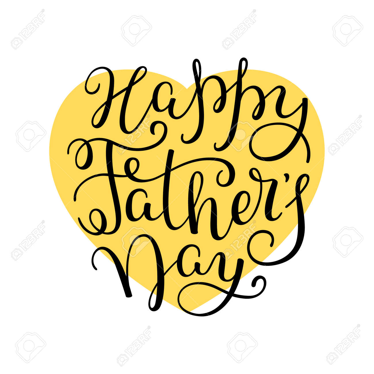 Hand Lettering Happy Father\'s Day. Template For Greeting Card ...