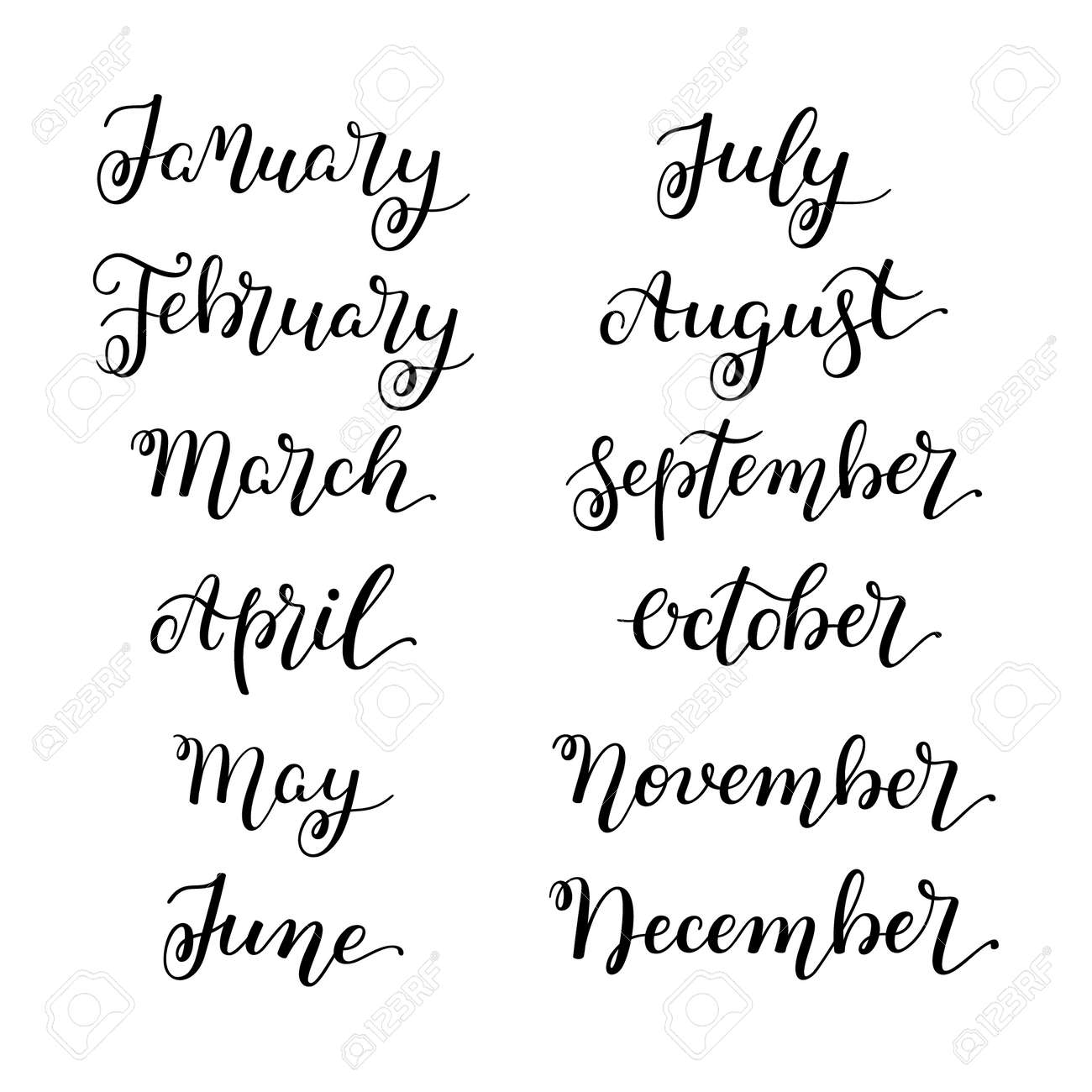 Set Month Of The Year Hand Lettering For Calendars Royalty Free