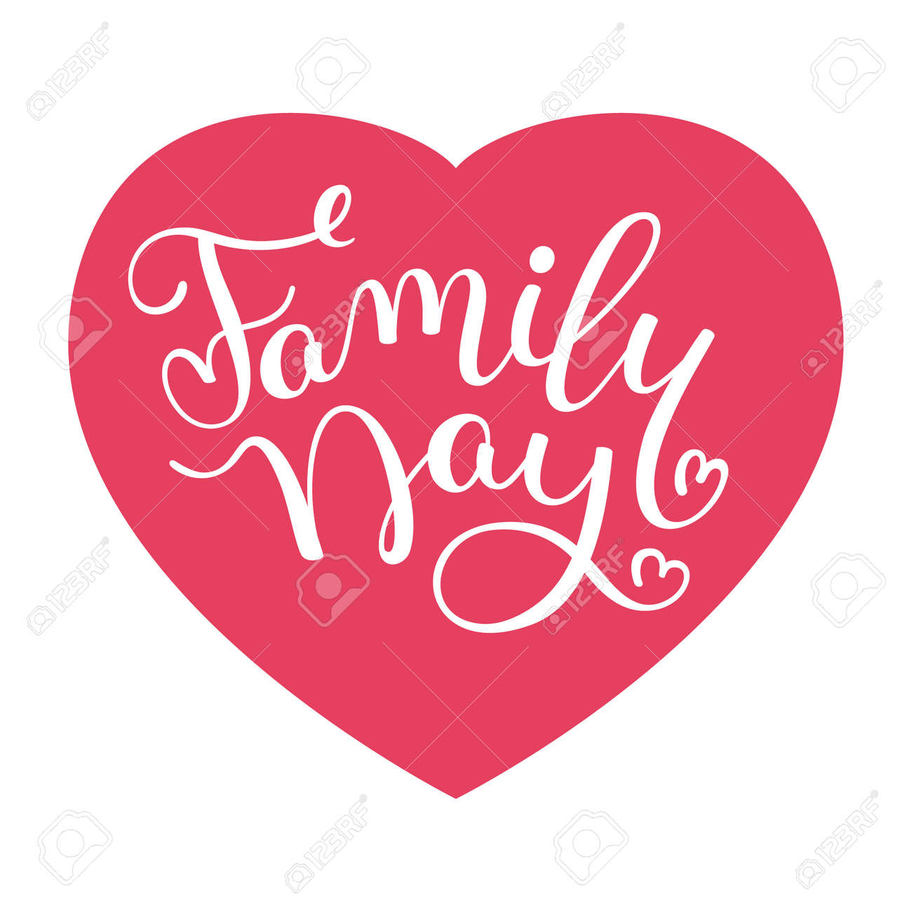 Family Day Hand Lettering With Heart Template For Greeting Cards