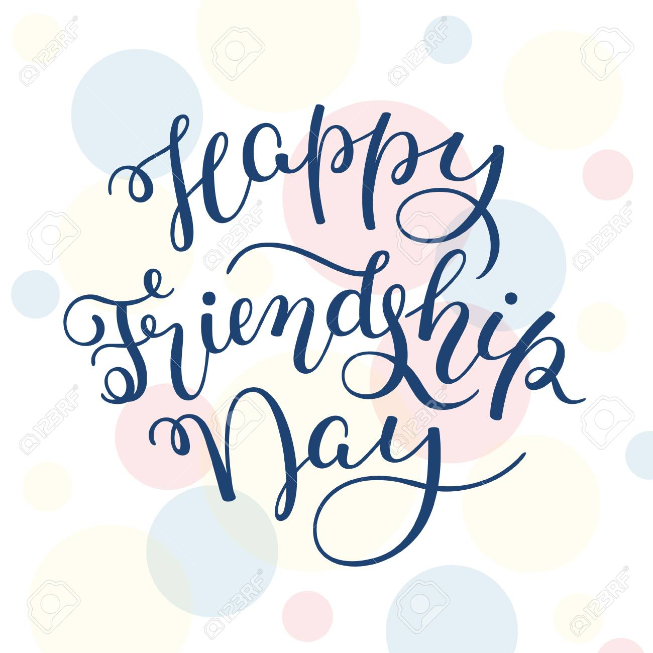 Hand Lettering Happy Friendship Day Template For Card Poster Print Stock Vector