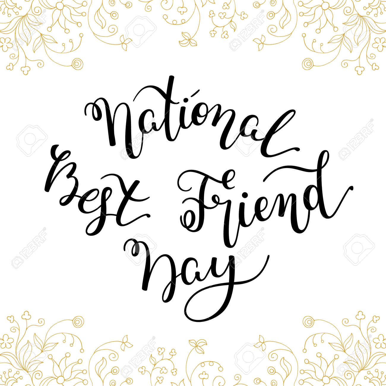 Hand Lettering National Best Friend Day. Template For Card, Poster